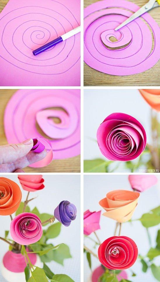 Открытки как сделать розы из бумаги, днем