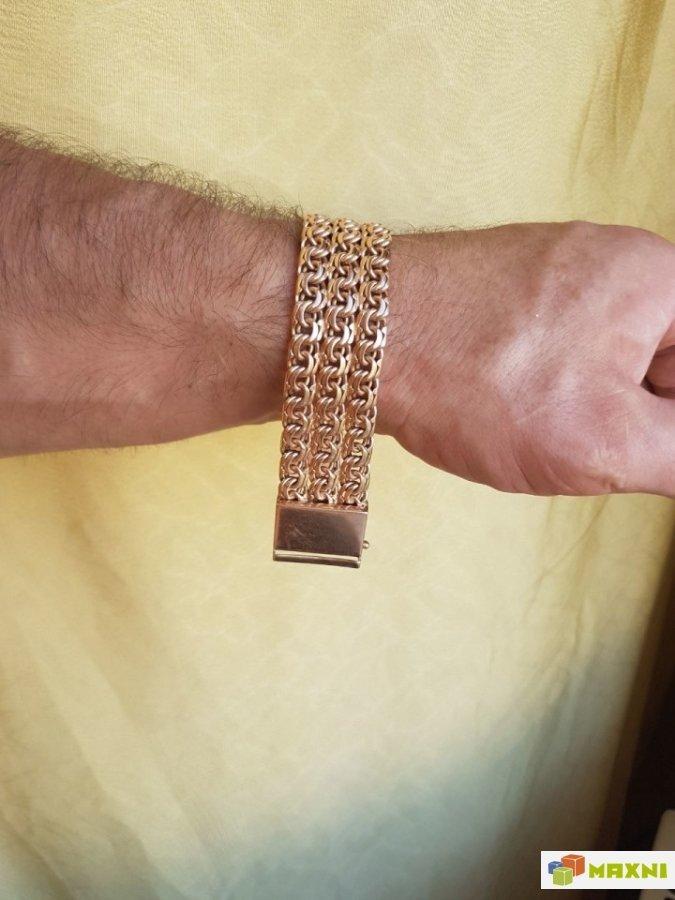 мужской золотой браслет на руку тирпиц фото вниз