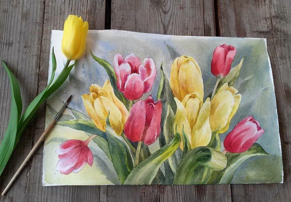 Открытка нарисованные тюльпаны, черепахи нарисованные