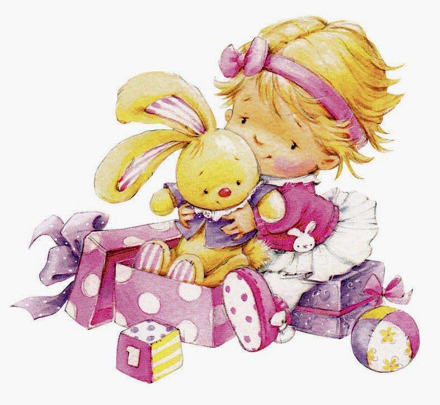 Открытка девочка с подарком, поздравлением февраля для