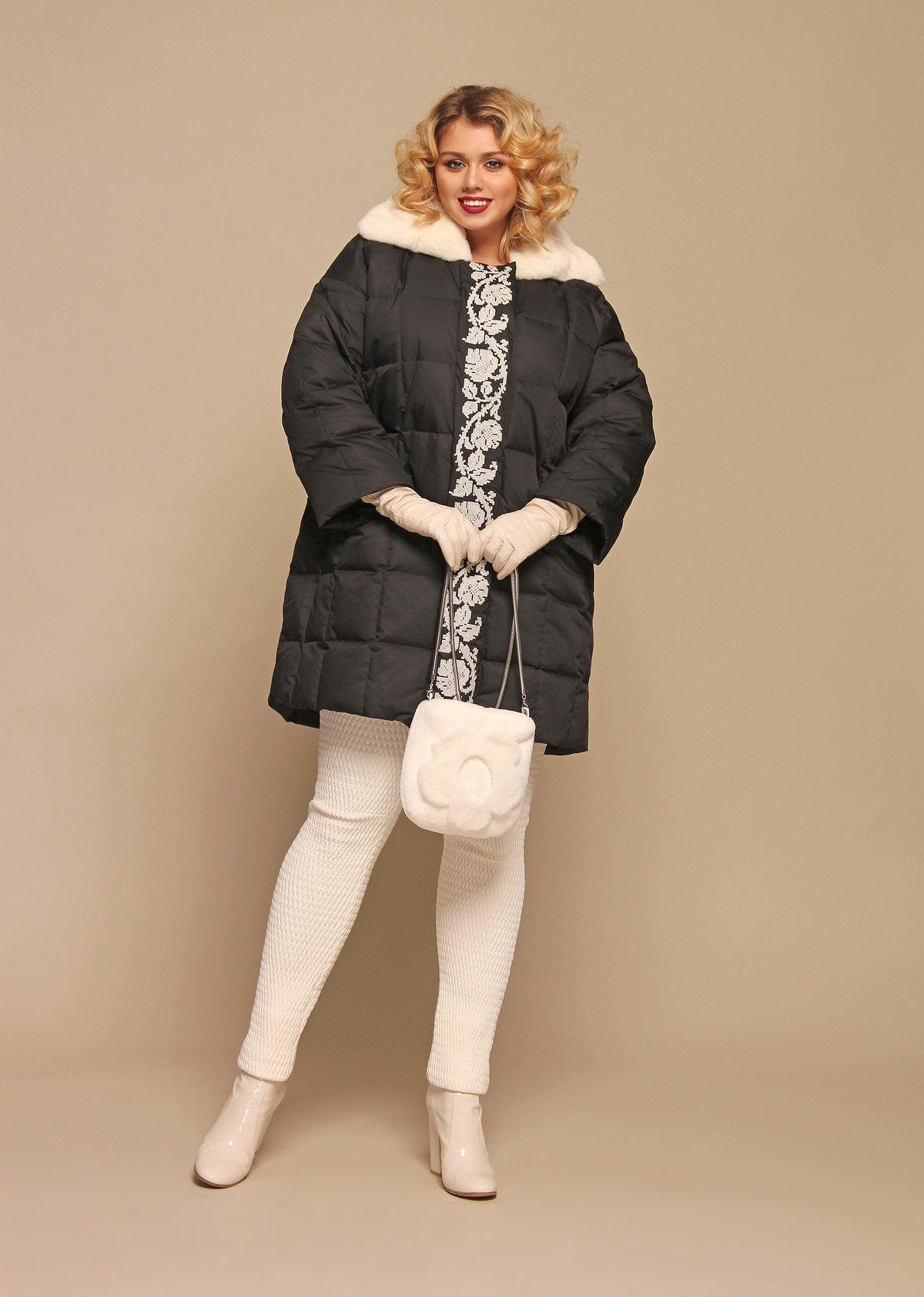 f6ee887673e Модный образ для полной женщины в темном пуховике» — карточка ...