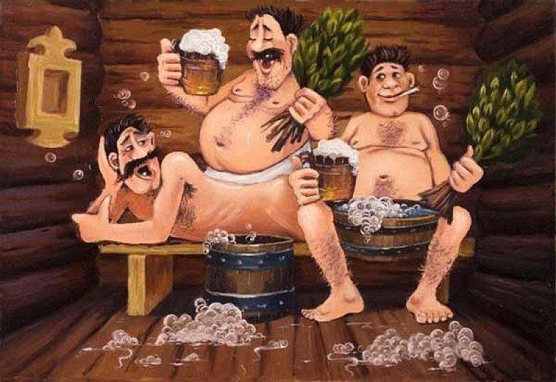 связи фото три мужика в бане член натирался тканью