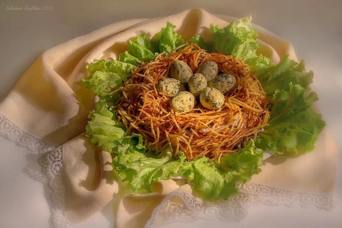 салат глухариное гнездо рецепт с фото пошагово испечь нежный, ароматный