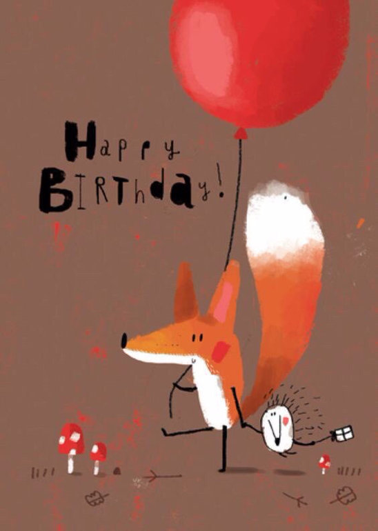 Поздравительные открытки с днем рождения с лисой