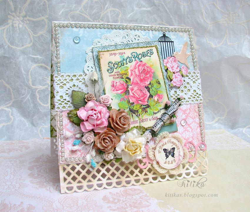 Марта, открытка скрапбукинг маме на юбилей