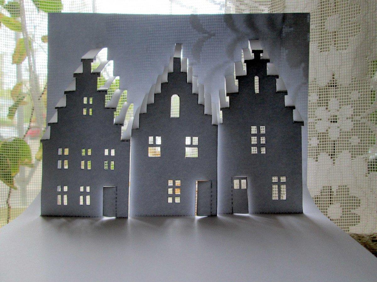 Как сделать объемную открытку дом, картинках днем