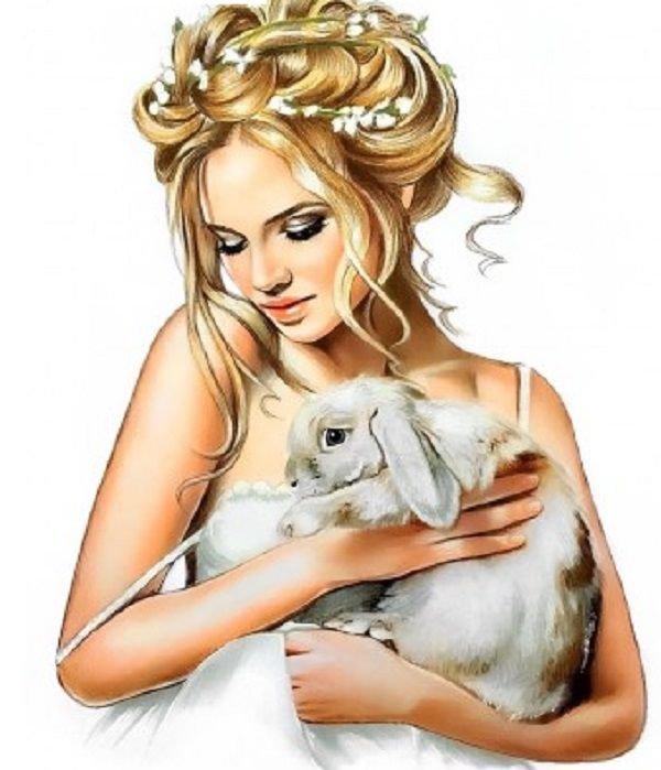 Рисованные девушки картинки на аватарку с животными