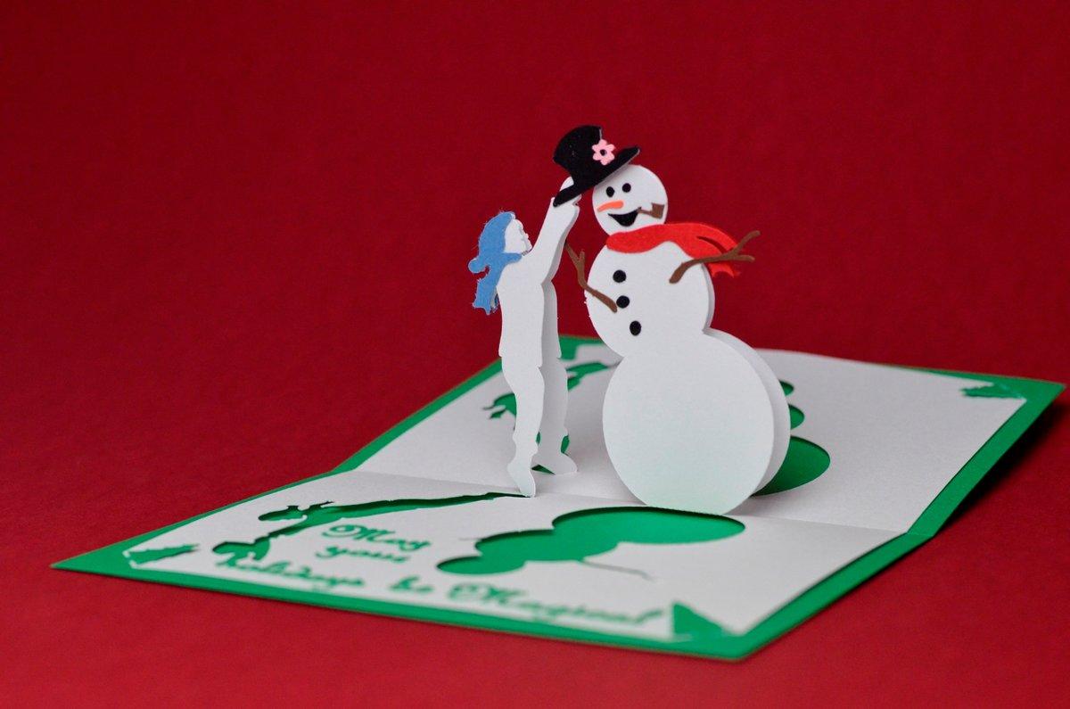 как сделать объемную открытку на новый год объемный снеговик сети много информации