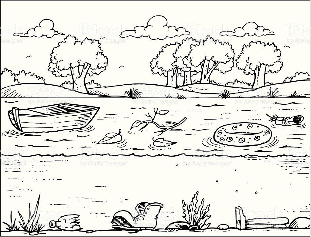 Загрязнение воды черно белые картинки