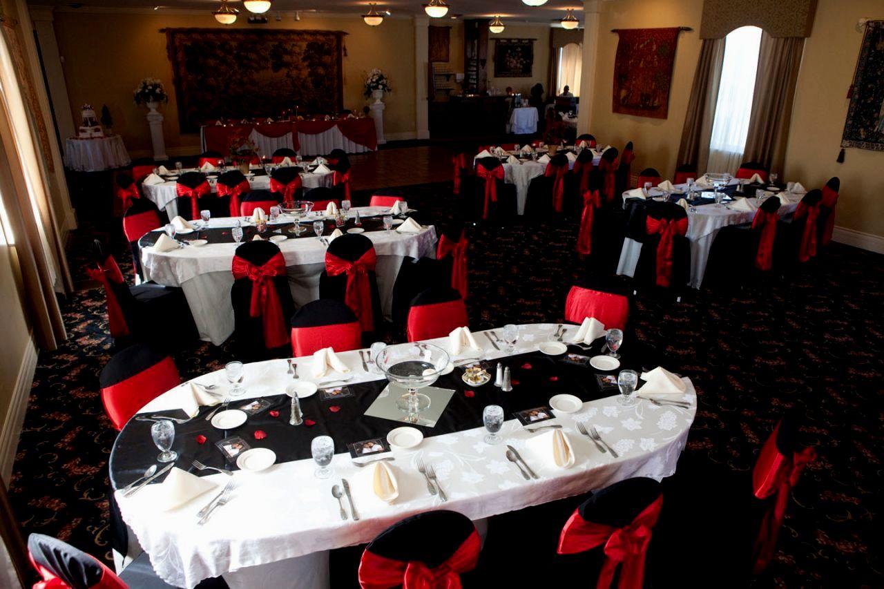 Wedding Reception Table Decor Red White Black Damask Theme And Decorat