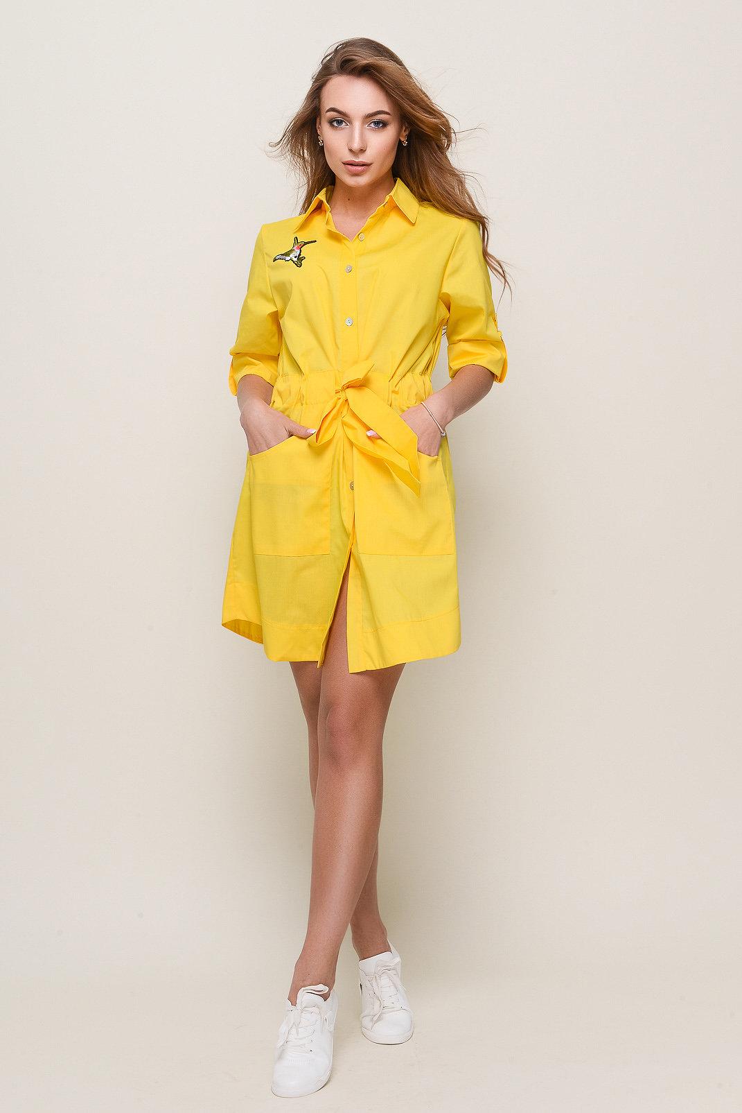 d8f73c08c68 Платье-рубашка модного желтого цвета с аппликацией » — карточка ...