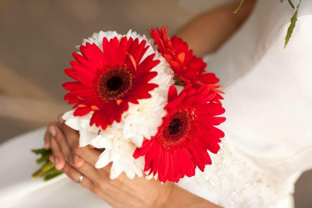 Свадебные букеты из белых гербер, для век 120