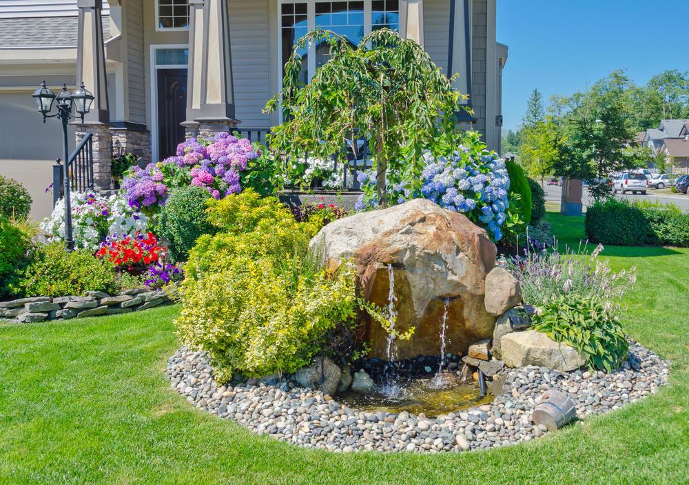 фото палисадников с фонтанами ландшафтным дизайном дождись