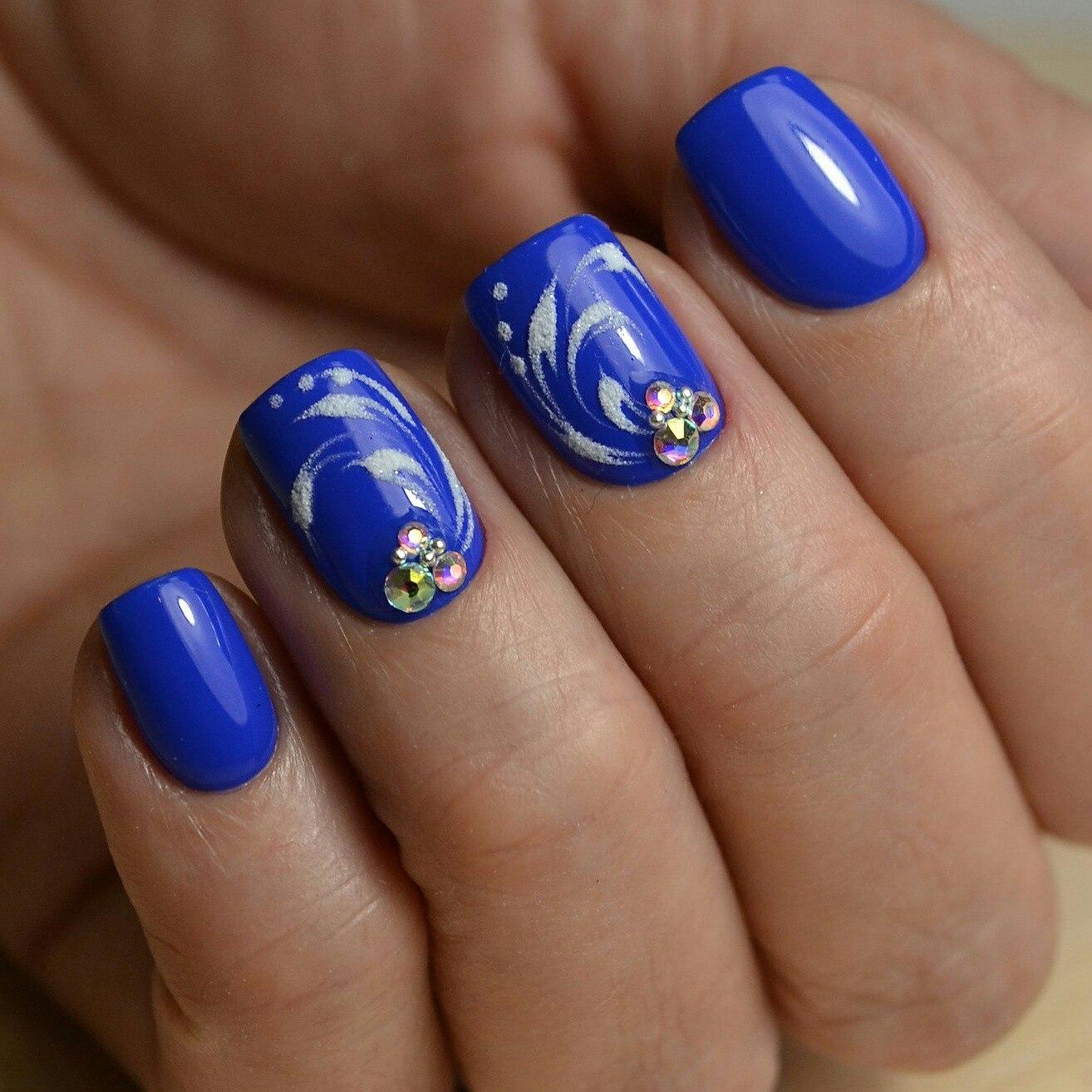 маникюр с голубым лаком на короткие ногти - Тюменский ...