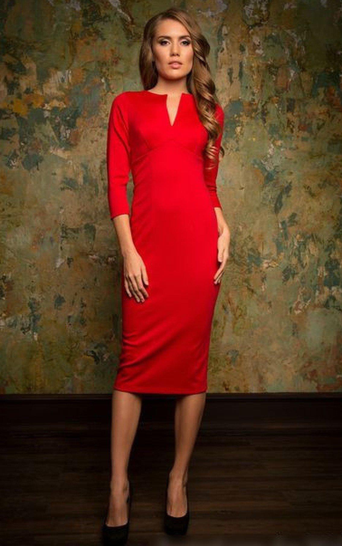 757115f8366e06c Красное платье-футляр длиной ниже колена.» — карточка пользователя o ...