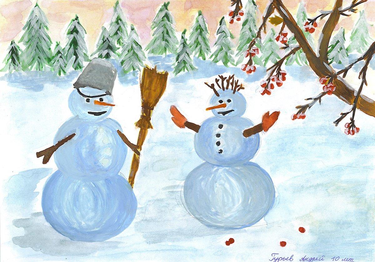 Открытки, рисунок на зимнюю тематику для детского сада