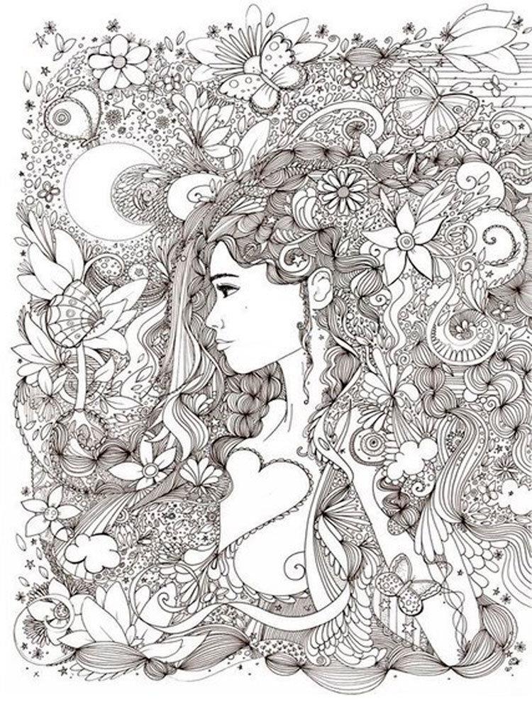 Раскраски антистресс картинки для девочек, синяк под