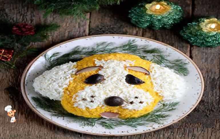 Рецепт салата символа года  2018 фото