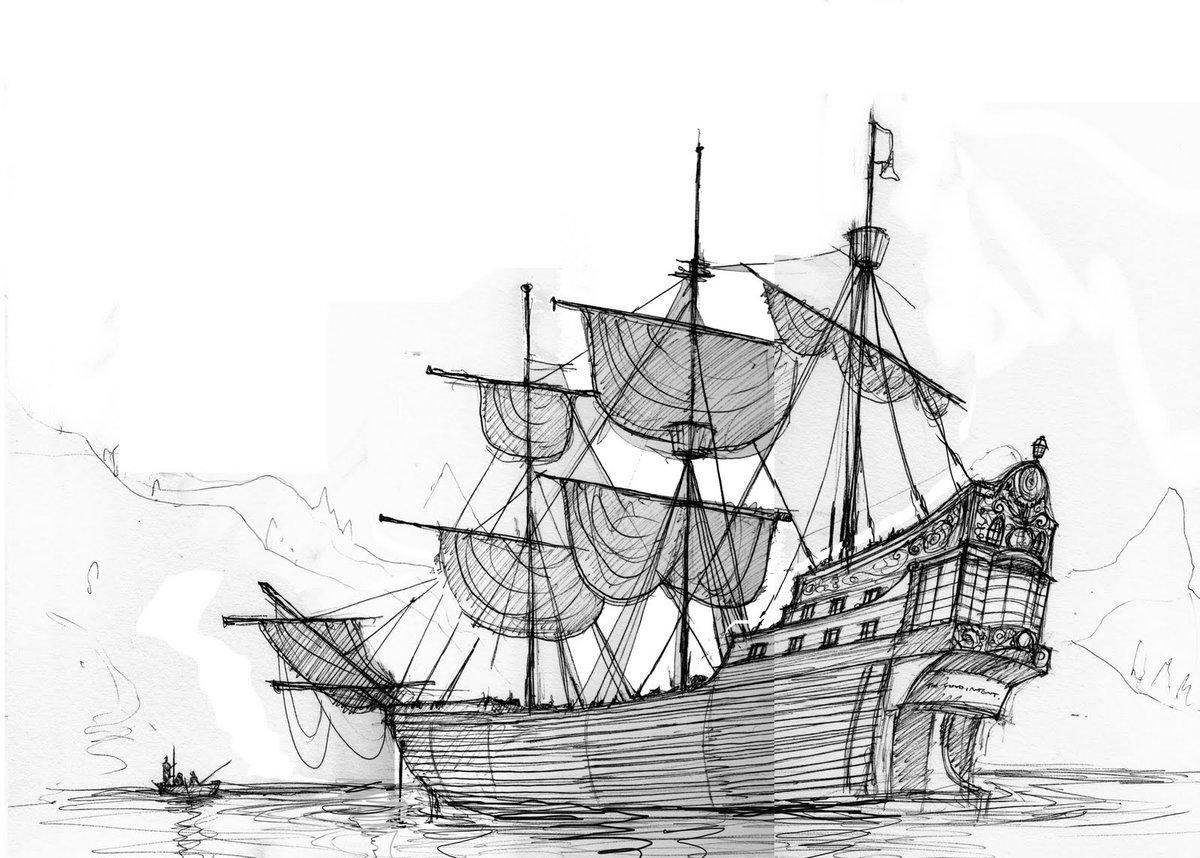 Нарисованные картинки карандашом корабли