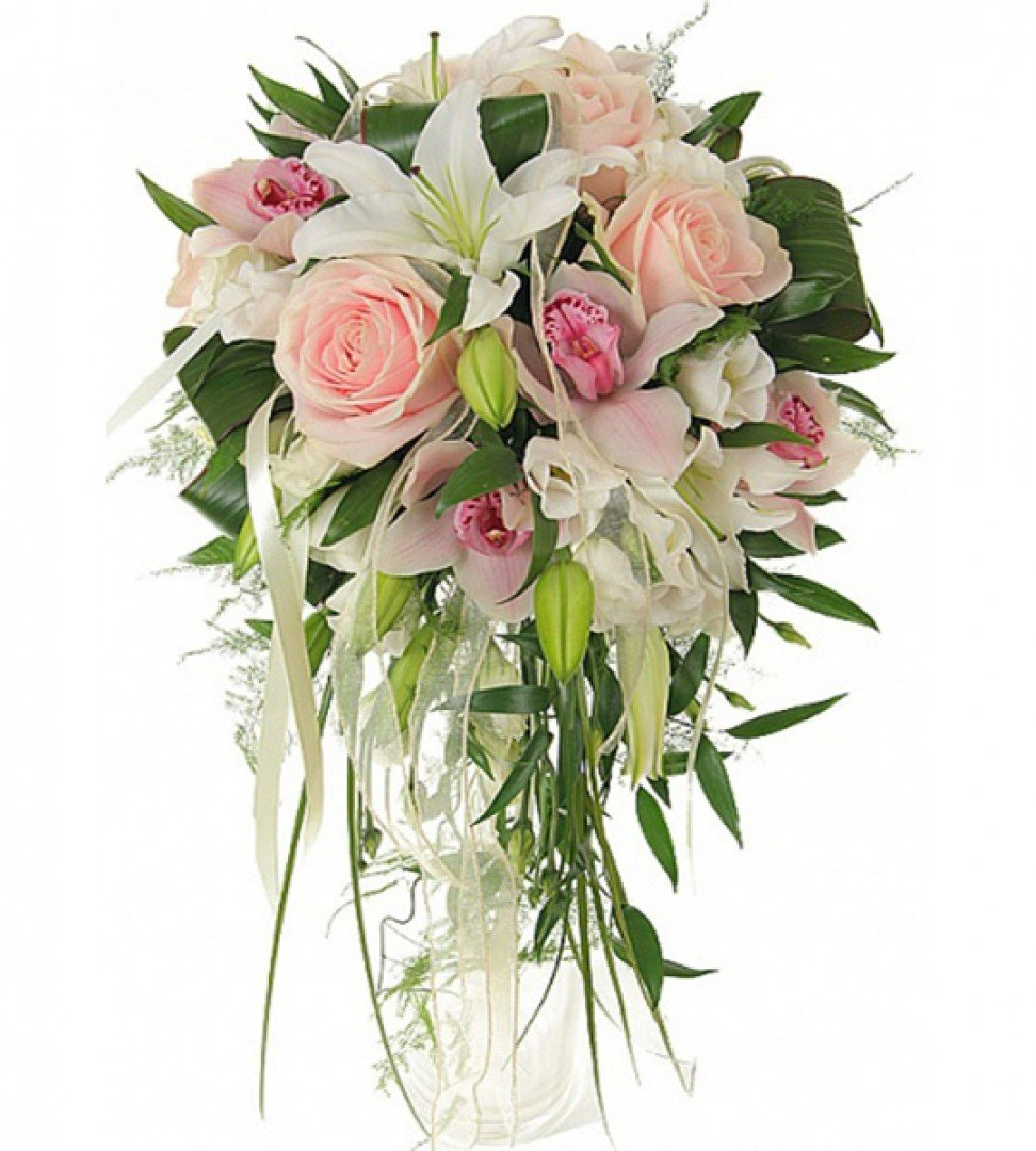 Каплевидный букет розы лилии орхидеи, заказать
