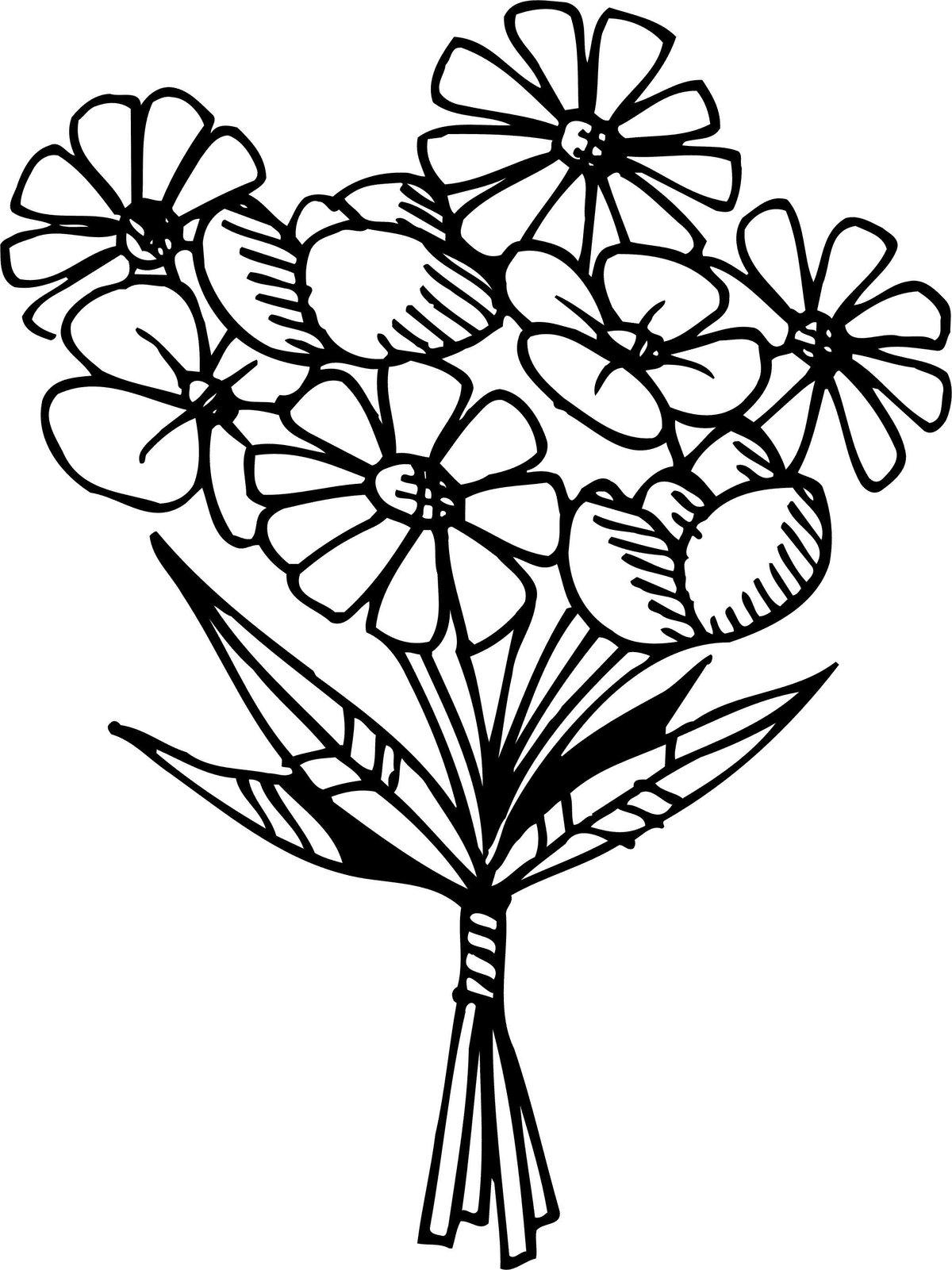 Открытка раскраска букет цветов, много