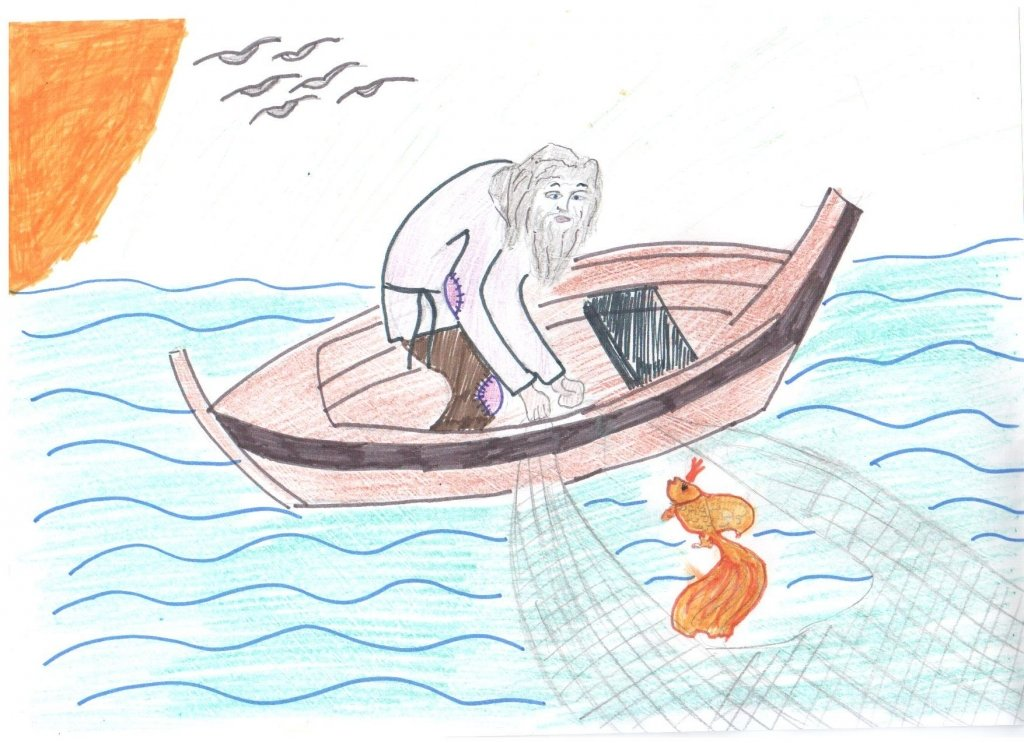 сказка о рыбаке и рыбке картинки карандашом
