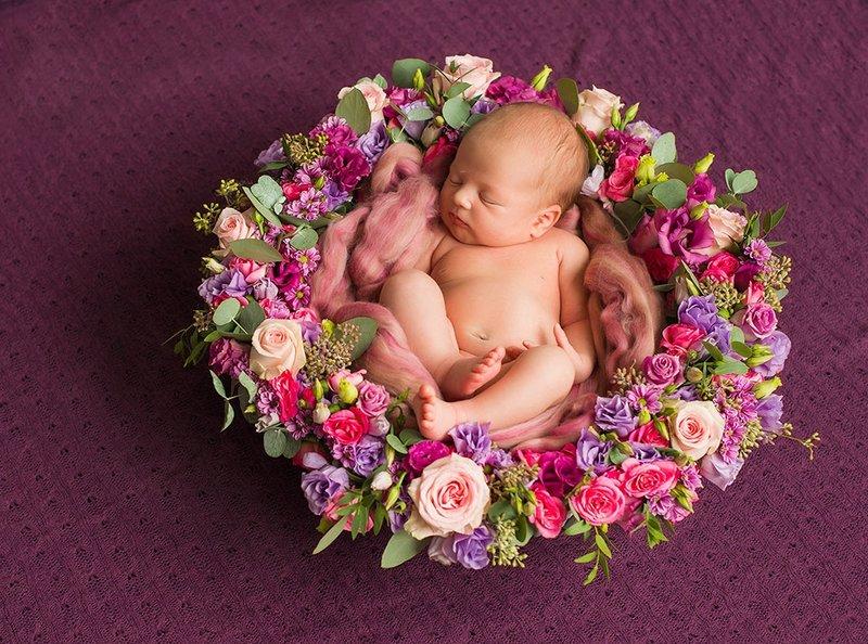 Фото малыша в цветах 17