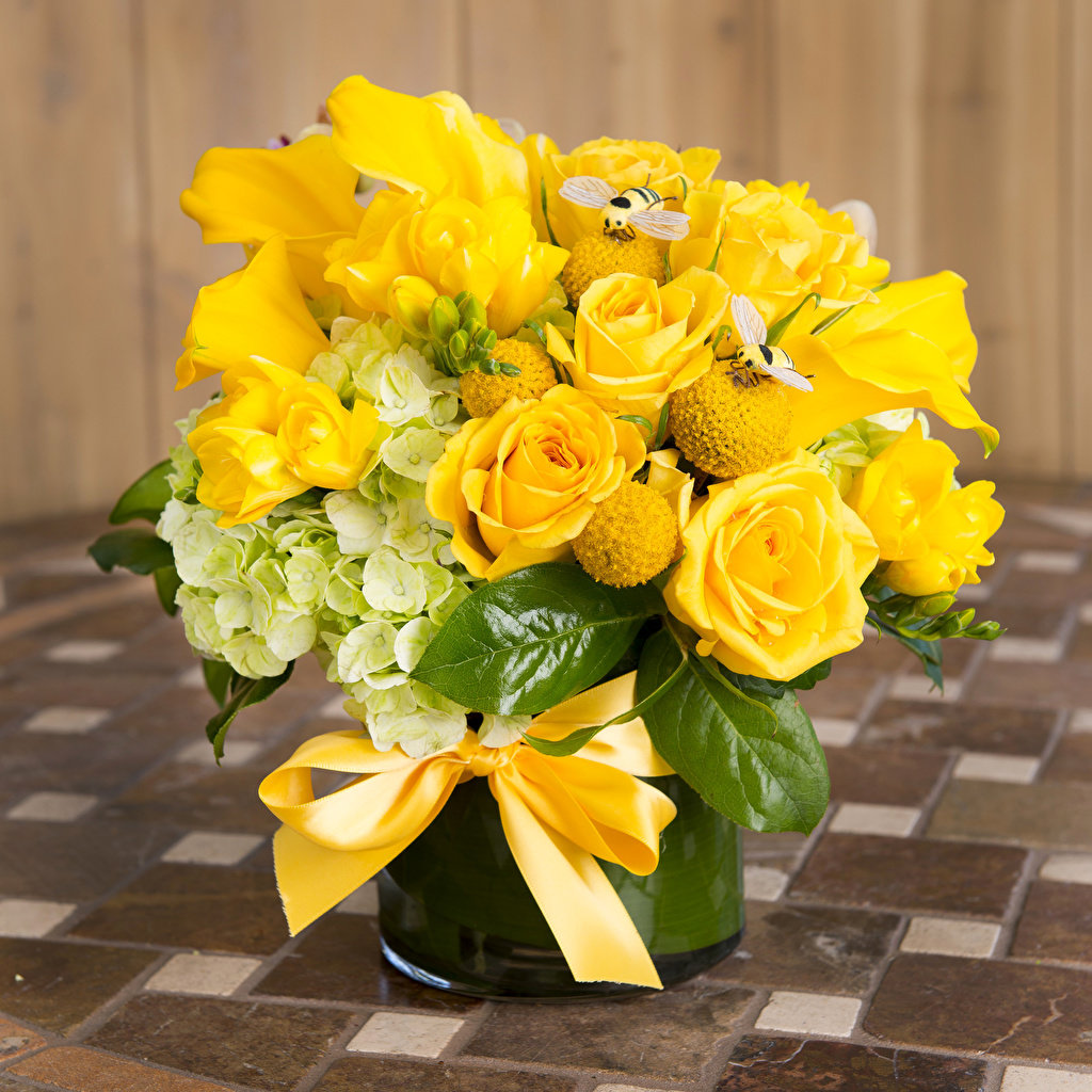 картинка цветы букет розы желтых редких