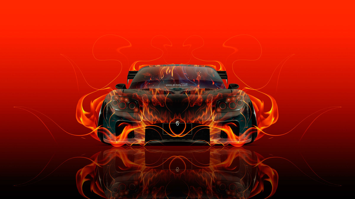 Perfect Mazda RX7 VeilSide JDM Front Fire Abstract Car