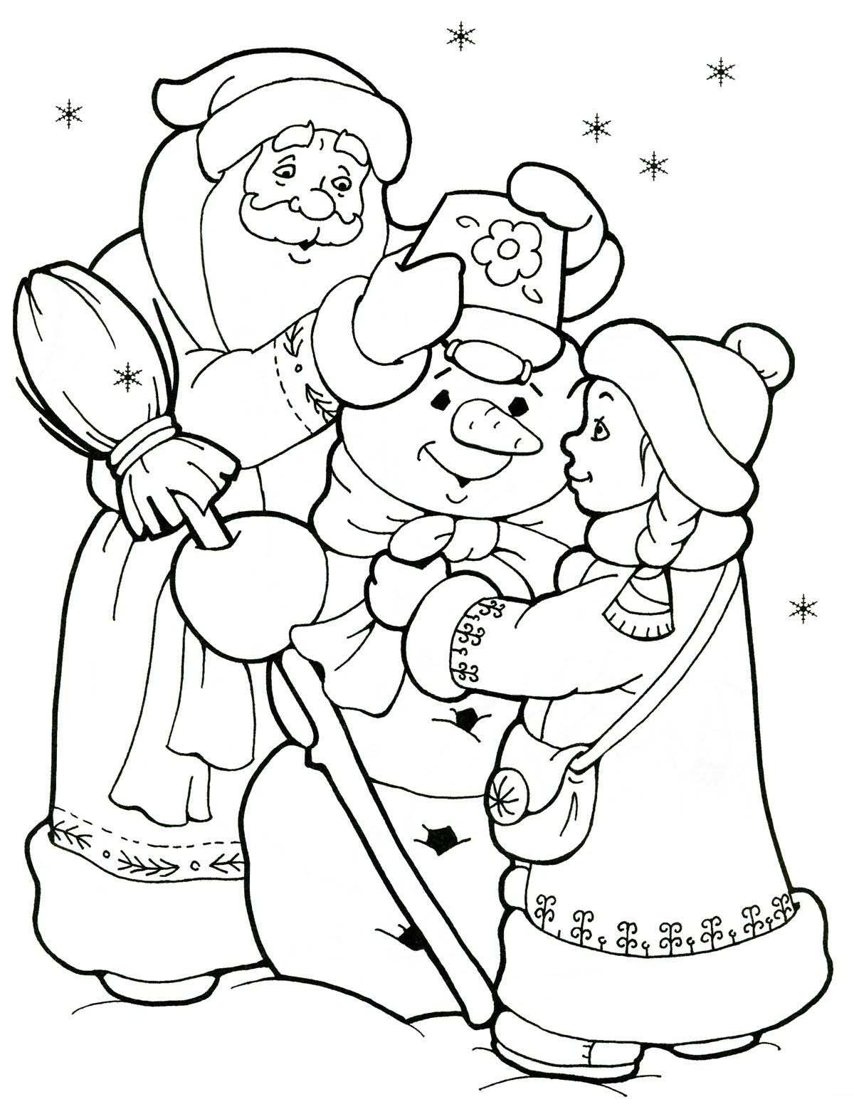 Картинки деда мороза и снегурочки для детей черно белые распечатать