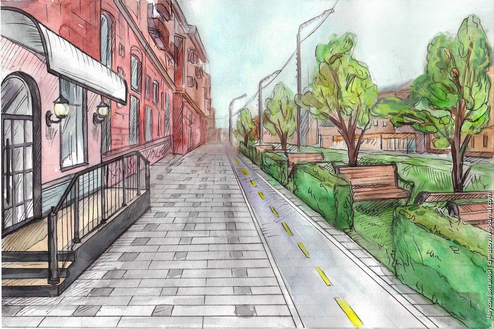 Картинка улица города нарисованная