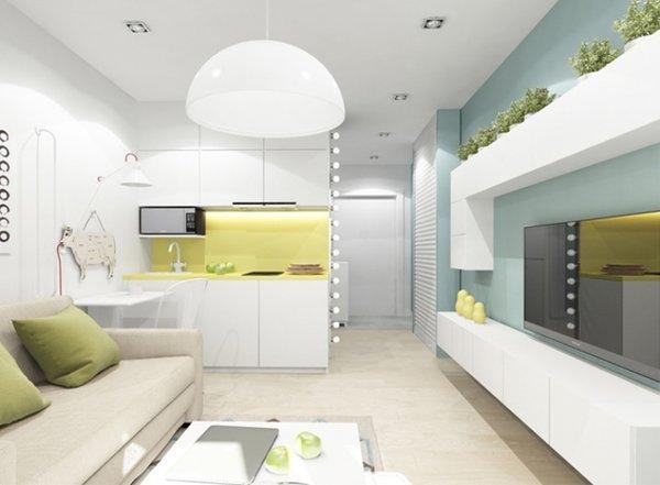 дизайн квартиры студии 20 квм фото с одним окном 5