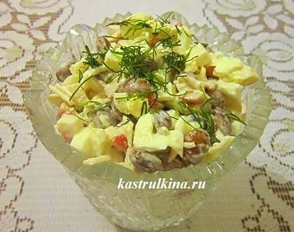 Быстрый салатик на скорую руку с фасолью
