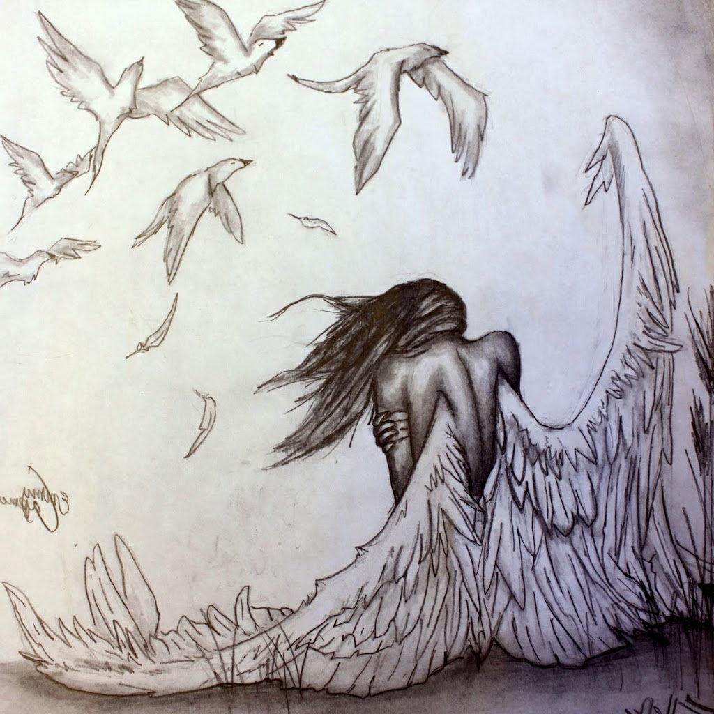 очерк, грустный ангел картинки карандашом данным