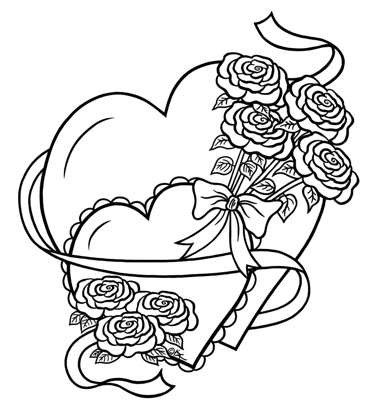 «раскраска сердце с цветами» — карточка пользователя Pasha ...