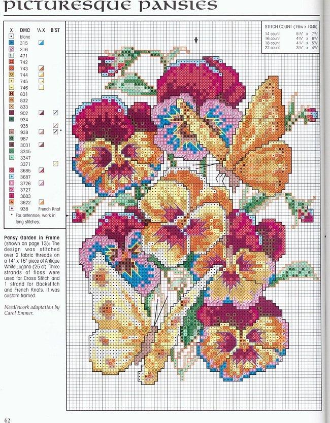 крестом схемы цветок красивая вышивка