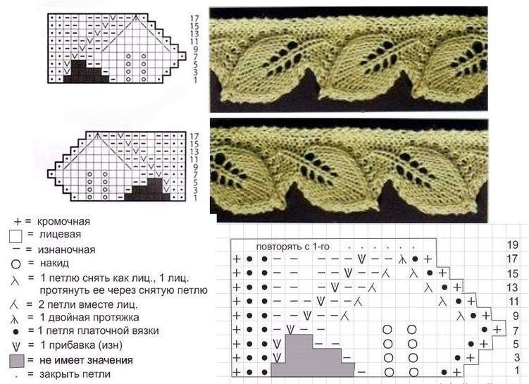Схема вязания листика спицами фото 442