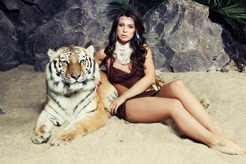 Женщина с тиграми картинка, привет
