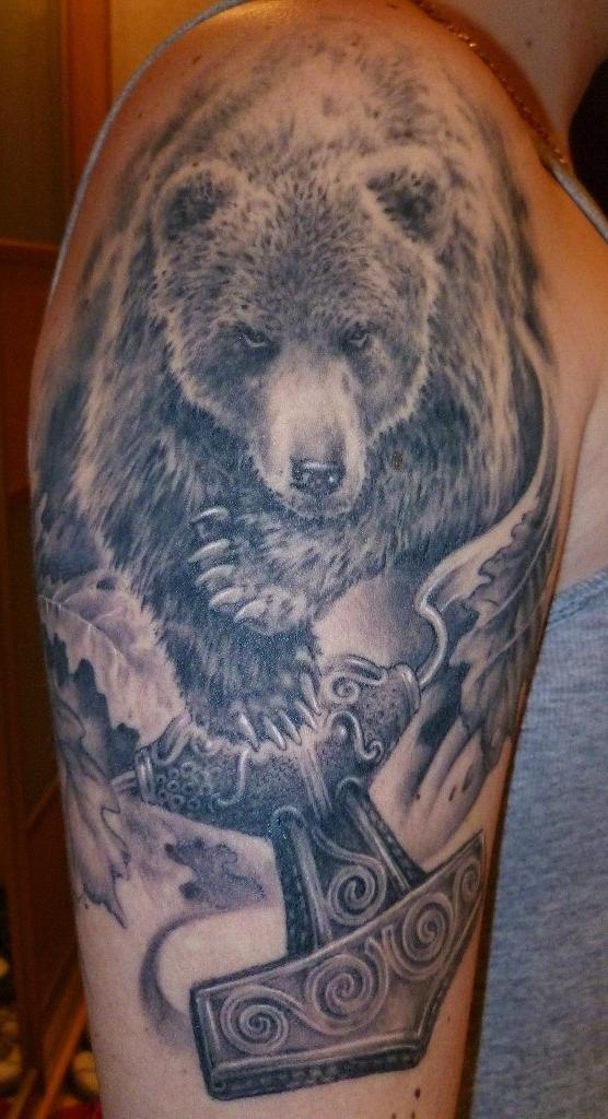 термобелья эскиз татуировки медведя перед лесом термобелье Glissade