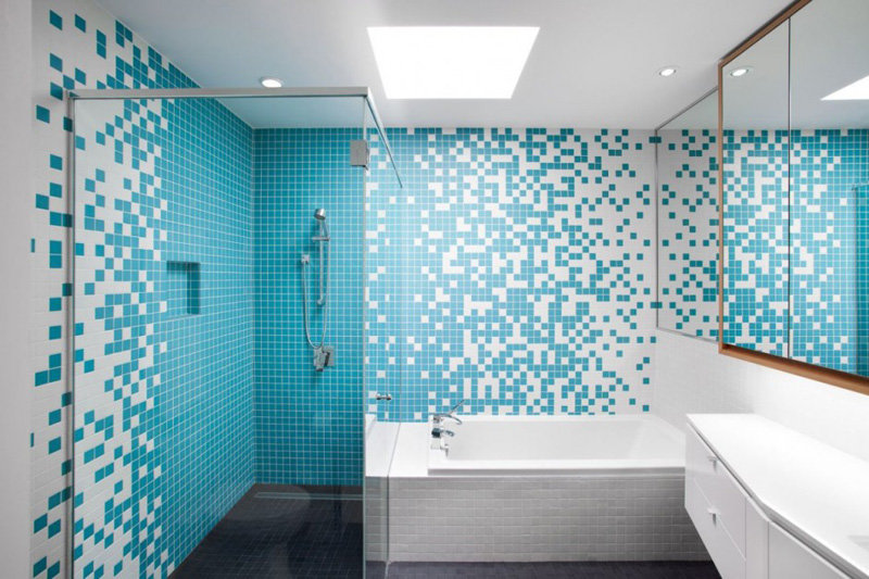 Белый голубой ванная комната смеситель для тропического душа скрытого монтажа