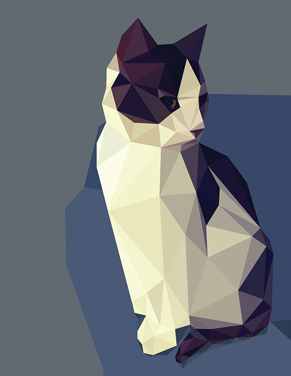 Полигональные картинки кошек