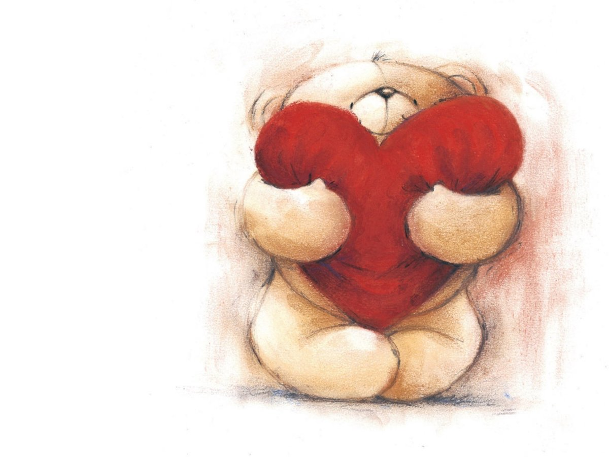Картинка мишки с сердечком, юбилей