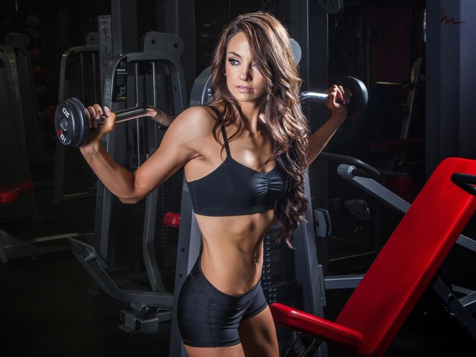 weight training fitness curly hair girl hd wallpaper this