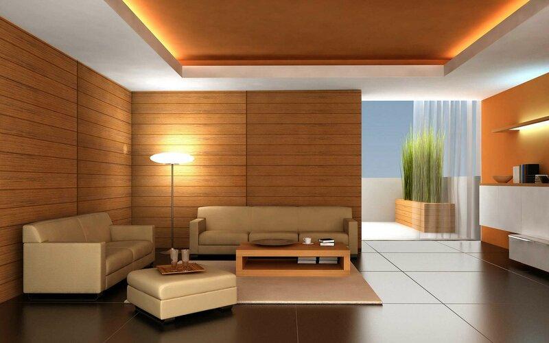 интерьер древесной гостиной