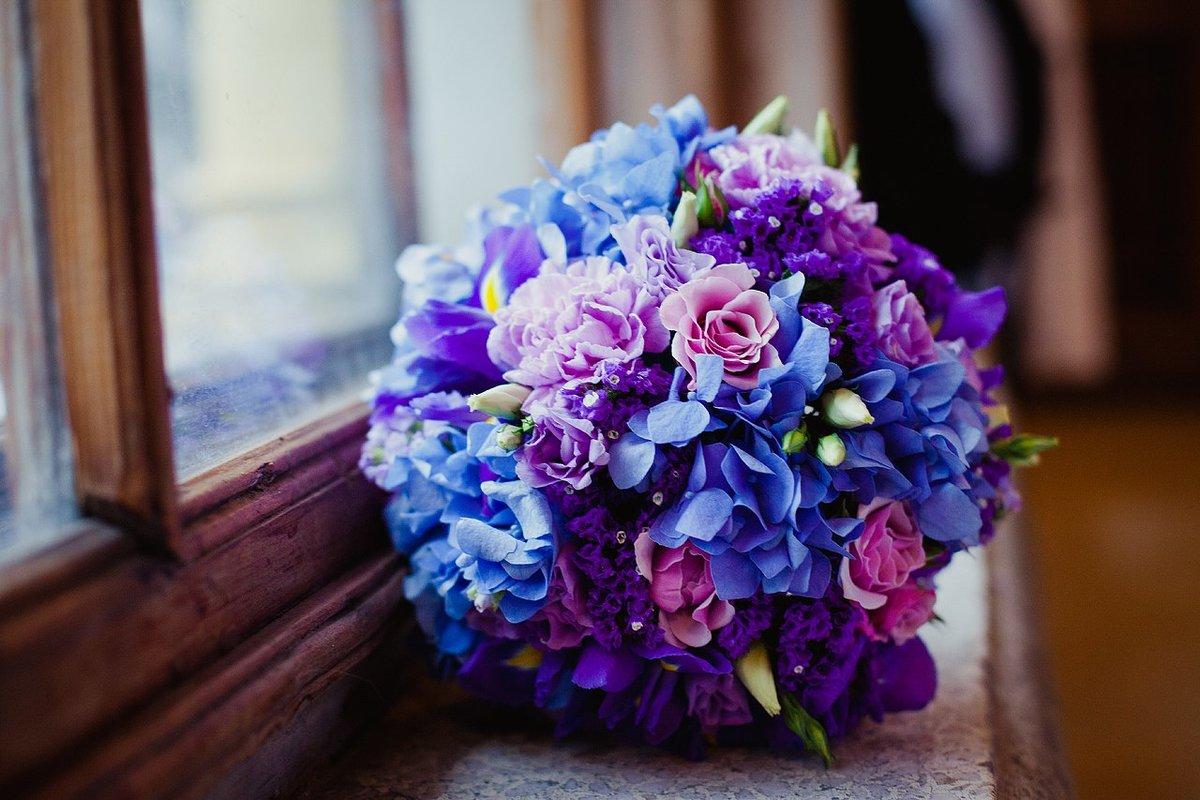 Букет невесты сине фиолетовый, заказать цветы