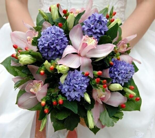 Свадебный букет с орхидеями и гиацинтом цена, невесты