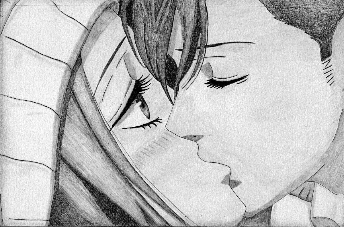 Открытки для, аниме картинки про любовь карандашом