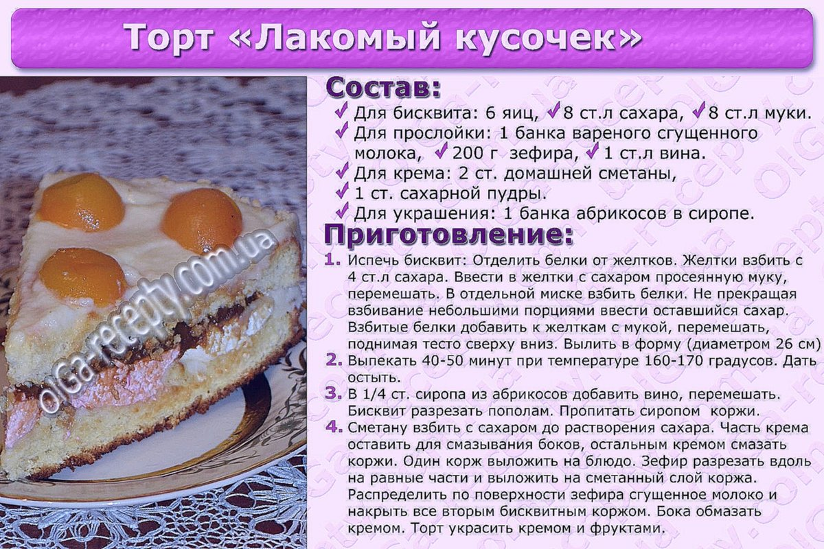 Рецепты тортов на картинках