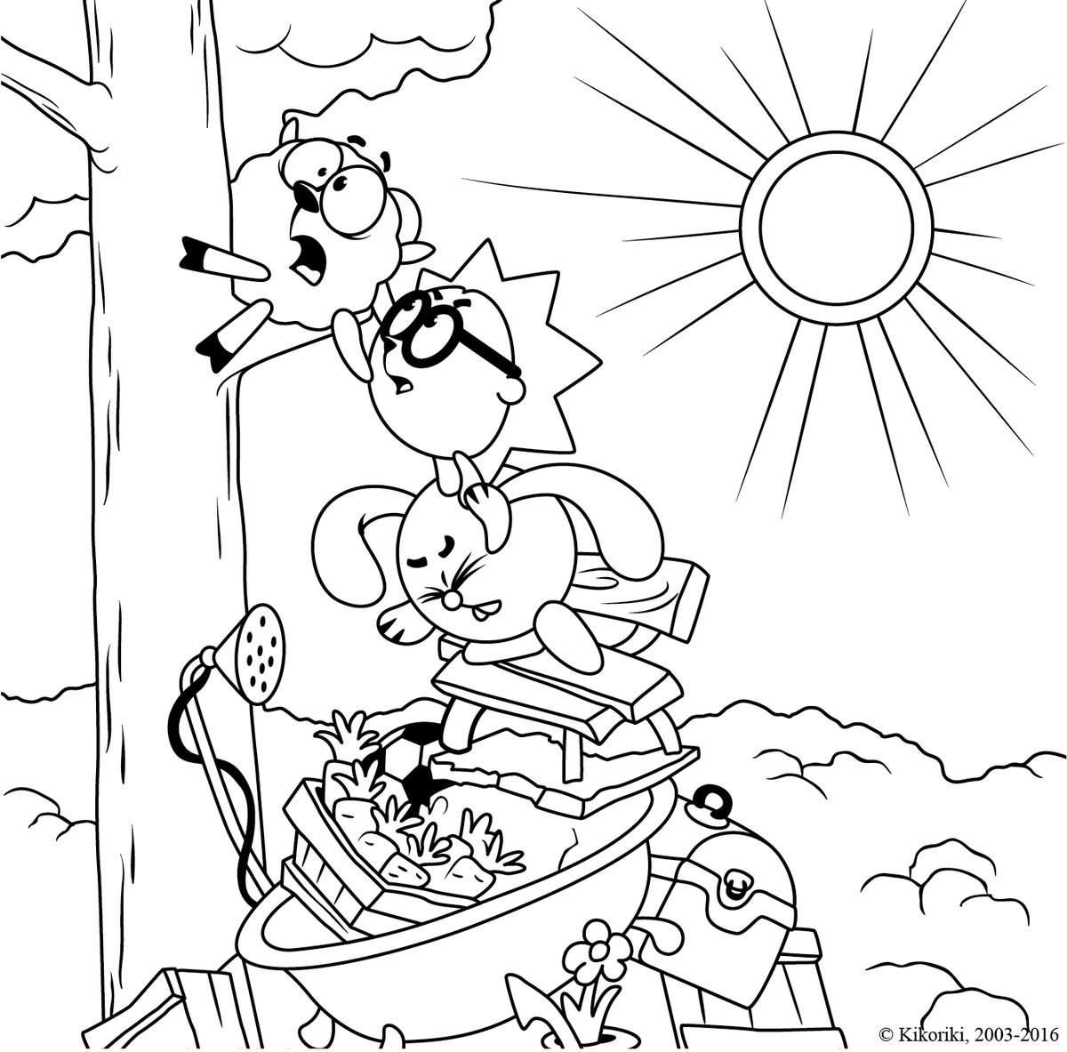«Раскраска Смешарики лезут на дерево» — карточка ...