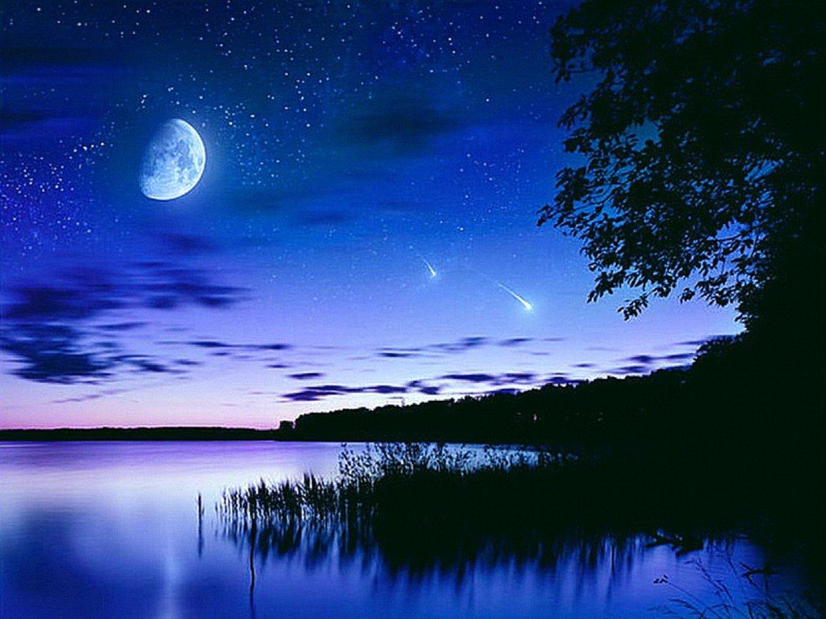 Открытка лунная ночь, днем рождения